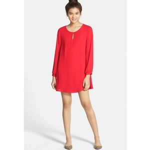 Everly | Red Long Sleeve Slouchy Shift Dress Sz M